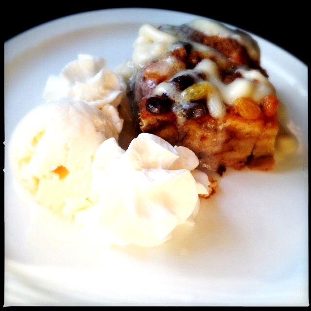 The Bread Pudding looks innocent enough, but ours possessed enough internal heat to melt metal. Photo by Vanessa Wolf