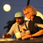 Chef Sheldon Simeon and Chef Bev Gannon at the Kāʻanapali Kitchen Stadium.  Photo by Wendy Osher.