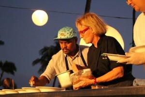 Chef Sheldon Simeon and Chef Bev Gannon at the Kāʻanapali Kitchen Stadium.  Photo by Wendy Osher.