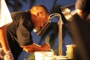 Maui's own Chef Isaac Bancaco at the Kāʻanapali Kitchen Stadium.  Photo by Wendy Osher.