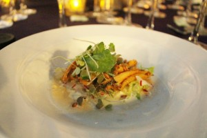 Chef Isaac Bancaco of Maui prepared Kona cold abalone with kimchee shave ice. Photo by Wendy Osher.