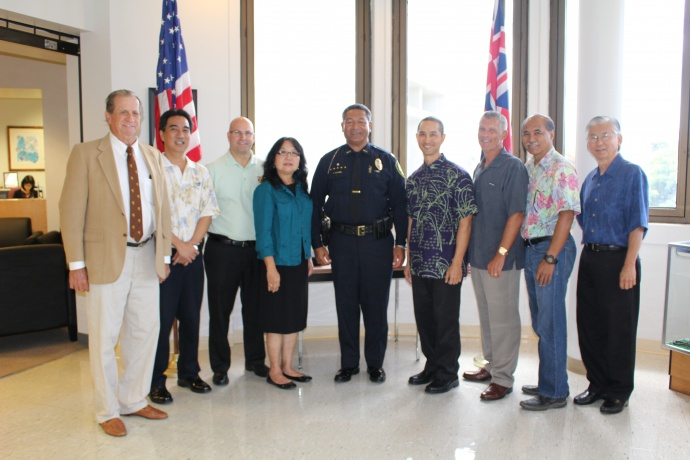 Maui Police Commission with newly selected Chief Tivoli Faaumu. Photo by Wendy Osher.