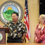 Maui Mayor Alan Arakawa (left) and Council Chair Gladys Baisa (right). Photo Sept. 10, 2014 by Wendy Osher.
