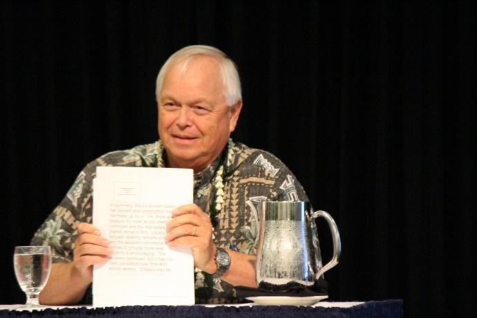 Dr. Jack Suyderhoud, First Hawaiian Bank economics adviser. Photo 9/18/14 by Wendy Osher.