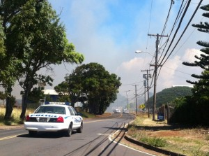 Baldwin Avenue brush fire, 9/3/14. Photo by Tara Dugan.