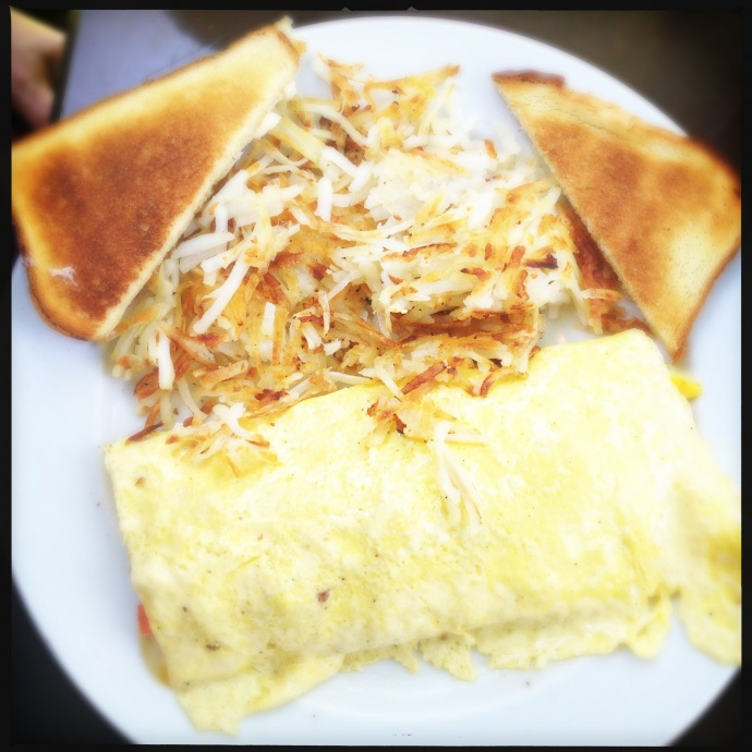 The Veggie Omelet is a veritable garden salad for breakfast. Photo by Vanessa Wolf
