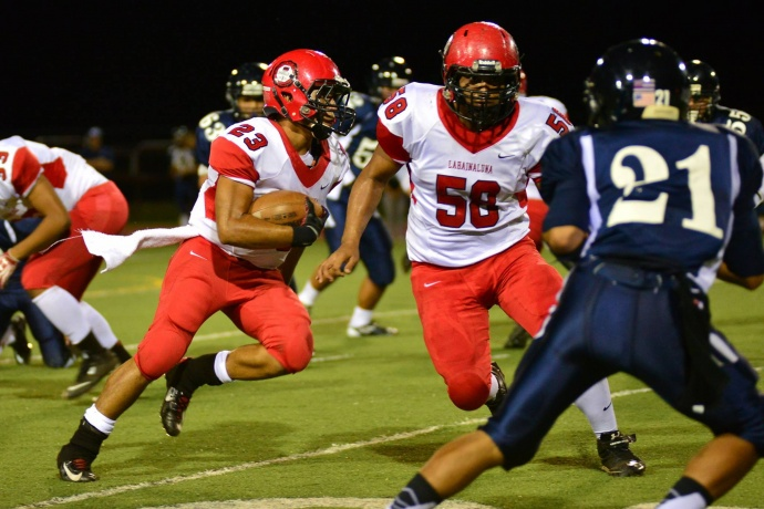 Lahainaluna running back Jared Rocha-Islas scored two touchdowns and gained 165 yards on 20 carries. Photo by Glen Pascual.