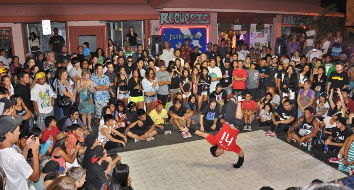 Photo of Breakdancing at Wailuku First Friday. File photo by Lois Whitney.
