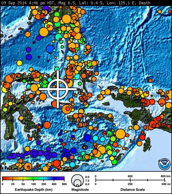 Indonesia earthquake map courtesy Pacific Tsunami Warning Center.