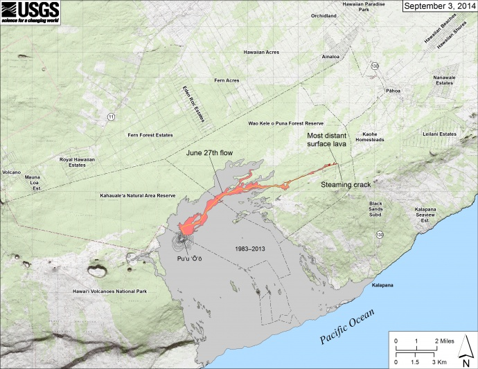 Map showing the June 27th flow in Kīlauea's East Rift Zone as of September 3, 2014. The area of the flow as mapped on September 1 is shown in pink, while widening and advancement of the flow as of September 3 is shown in red. Map courtesy USGS/ Hawaiian Volcano Observatory.
