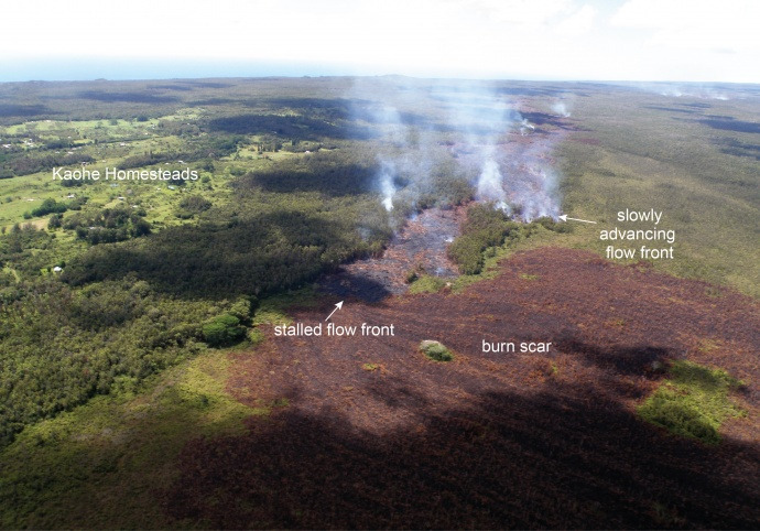 June 27th lava flow. Photo, Sept. 24, 2014, courtesy USGS and Hawaiian Volcano Observatory.