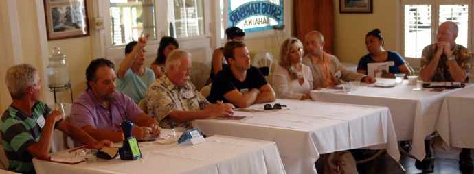 Audience participating in the brainstorming at the 1st West Maui Business on the Grill. Photo courtesy MBB.