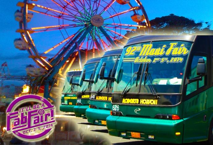 92nd Maui Fair Park & Ride Bus Shuttle. Maui Now Graphic montage.