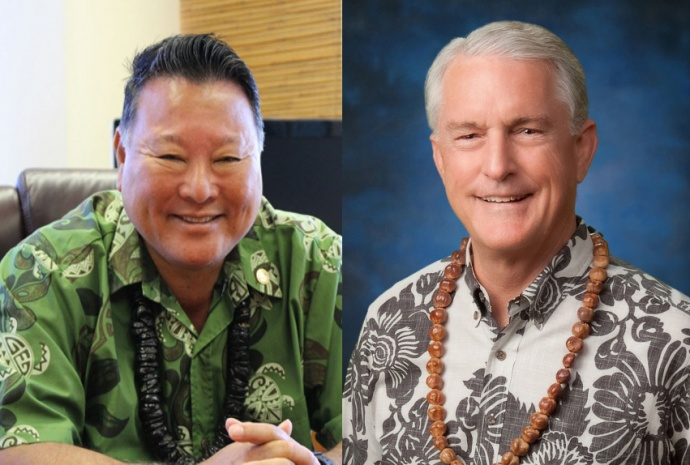 Maui Mayor Alan Arakawa (left) photo by Wendy Osher; and Budget and Finance Committee Chair Mike White (right) courtesy photo.
