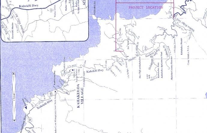 Kahekili Highway project area map. Image courtesy County of Maui.