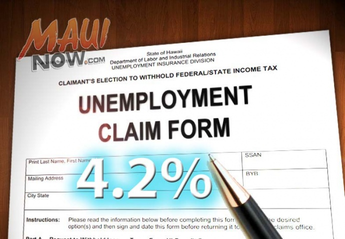 Maui County's unemployment rate fell to 4.2% in August. Maui Now graphic by Wendy Osher.