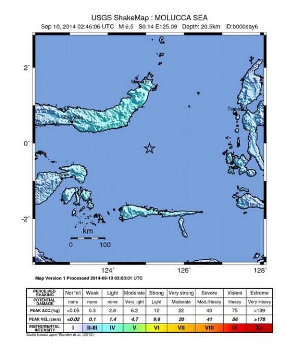 Indonesia earthquake 9/9/14 shake map courtesy USGS.