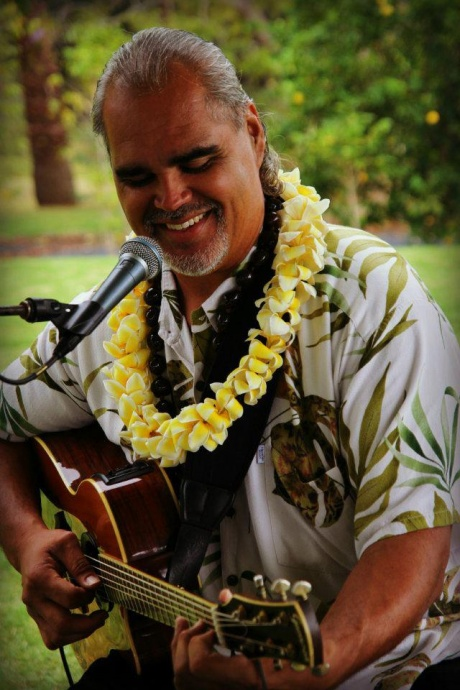 Ernest Puaʻa is one of the many island entertainers at the Hula Grill. He is currently scheduled to perform on at 11 a.m. on Wednesdays.  Other island entertainers include Kawika Lum Ho, Kapali Keahi, Kealii Lum, Jarrett Roback, Wili Pohaku, Peter De Aquino, Derick Sebastian, Damon Parrillo, Ma'a, Danyel Alana, and more. Photo courtesy BellaEva Photography via Ernest & Lisa Puaʻa. ***Hula Grill Kāʻanapali Barefoot Bar entertainment lineup.