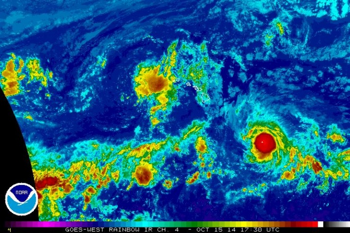 Satellite imagery, 7:30 a.m. HST, Wednesday, Oct. 15, 2014, courtesy NOAA/NWS.