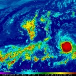 Satellite imagery of Tropical Storm Ana as of 11 a.m., Wednesday, Oct. 15, 2014.  Image courtesy NOAA/NWS/Central Pacific Hurricane Center.