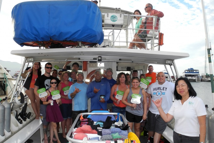 Passengers and crew aboard Aqua Adventure prepare to depart Māʻalaea Harbor fueled by 100% Biodiesel. Courtesy photo.