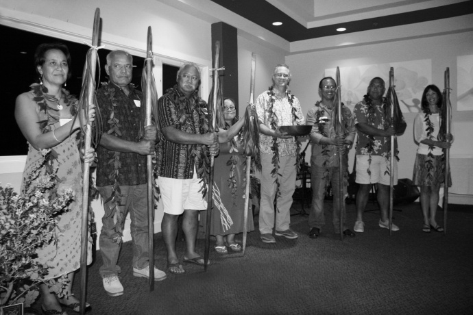Accepting the awards on behalf of the Maui Nui Network were, from left: Leimamo Lind-Strauss from the Kīpahulu ʻOhana in East Maui; Uncle Mac Poepoe from the Hui Mālama O Moʻomomi on Molokaʻi; Sol Kahoʻohalahala from the Maunalei Ahupuaʻa on Lānaʻi; Claudia Kalaola and Scott Crawford from Nā Mamo O Mūʻolea in East Maui; Ekolu Lindsey from Polanui Hiu in Lāhaina,West Maui; Jay Carpio from the Wailuku Ahupuaʻa in Cental Maui; and Robin Newbold, chair of the Maui Nui Marine Resources Council. Photo Credit: Nature Conservancy