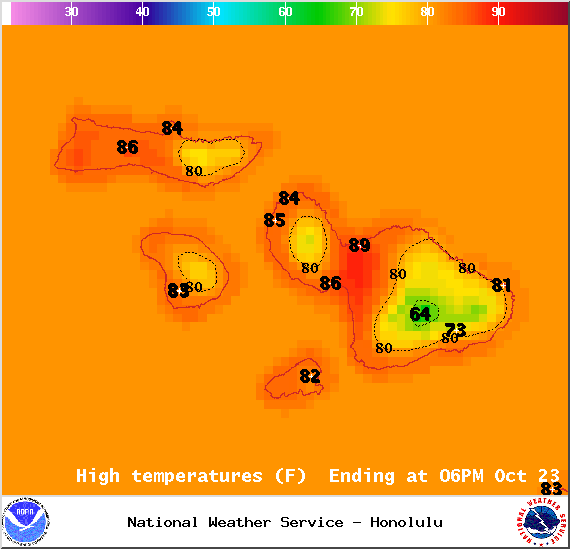 Map of expected high temperatures in Maui County on Thursday October 23, 2014 / Image: NOAA / NWS