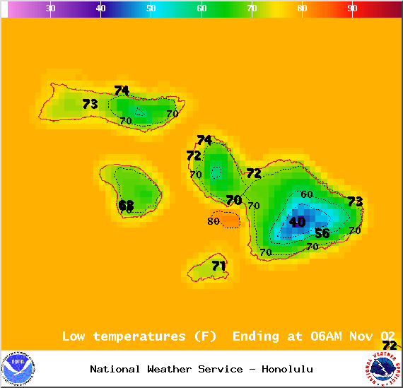 Map of expected low temperatures in Maui County on Saturday Nov. 1, 2014 / Image: NOAA / NWS