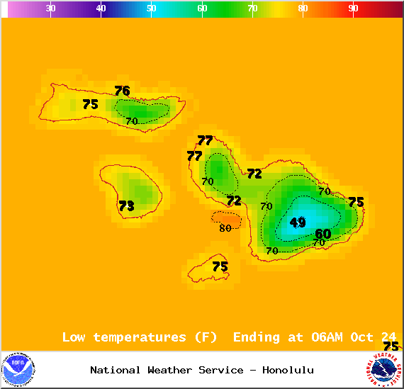 Map of expected low temperatures in Maui County on Thursday October 23, 2014 / Image: NOAA / NWS