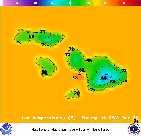 Map of expected overnight low temperatures in Maui County on Monday October 27, 2014 / Image: NOAA / NWS