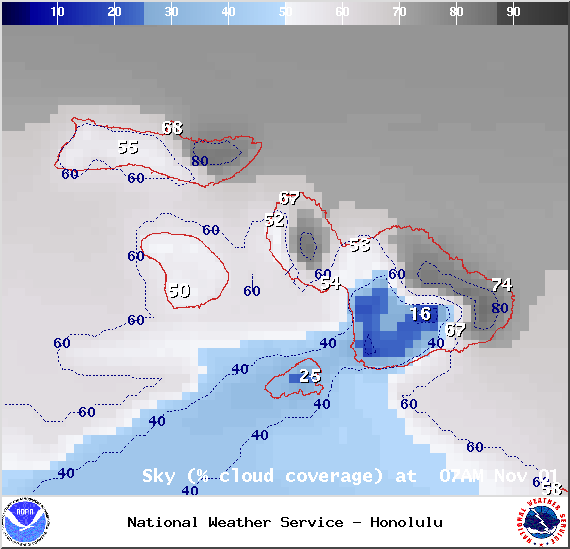 Chance of cloud cover 7am in Maui County on Saturday Nov. 1, 2014 / Image: NOAA / NWS