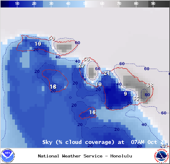 Expected cloud cover in Maui County at 7am on Thursday October 23, 2014 / Image: NOAA / NWS