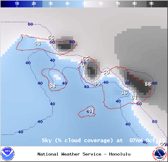 Chance of cloud cover in Maui County at 7am on Saturday October 25, 2014 / Image: NOAA / NWS