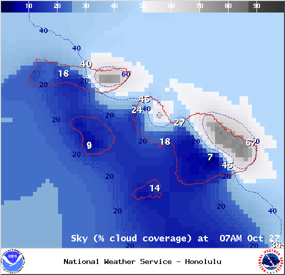 Chance of cloud cover in Maui County at 7am on Monday October 27, 2014 / Image: NOAA / NWS
