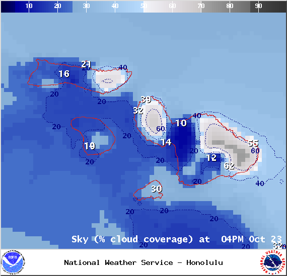 Expected cloud cover in Maui County at 4pm on Thursday October 23, 2014 / Image: NOAA / NWS