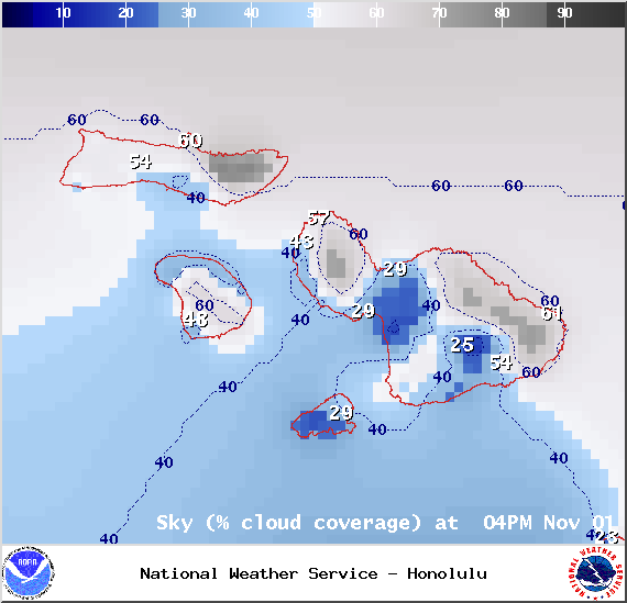 Chance of cloud cover 4pm in Maui County on Saturday Nov. 1, 2014 / Image: NOAA / NWS