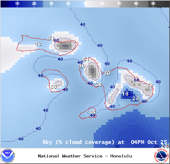 Chance of cloud cover in Maui County at 4pm on Saturday October 25, 2014 / Image: NOAA / NWS