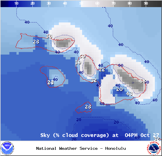 Chance of cloud cover in Maui County at 4pm on Monday October 27, 2014 / Image: NOAA / NWS