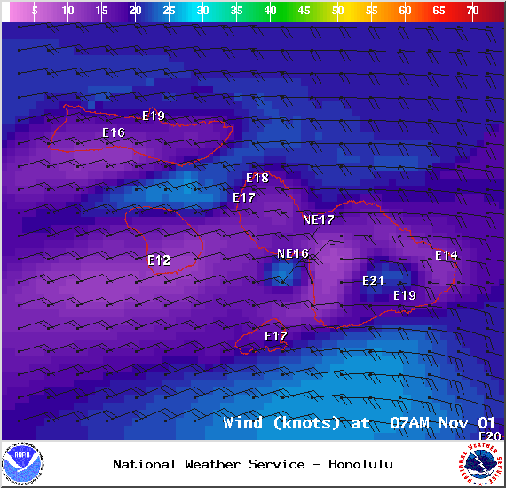 Wind conditions 7am in Maui County on Saturday Nov. 1, 2014 / Image: NOAA / NWS