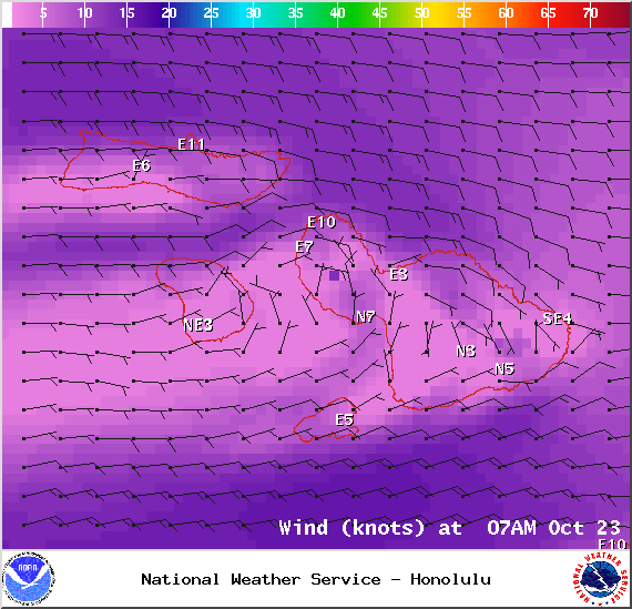 Map of expected winds in Maui County at 7am on Thursday October 23, 2014 / Image: NOAA / NWS