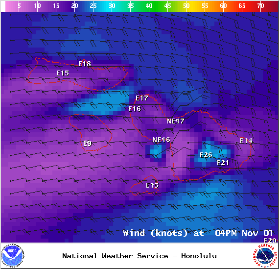 Wind conditions 4pm in Maui County on Saturday Nov. 1, 2014 / Image: NOAA / NWS