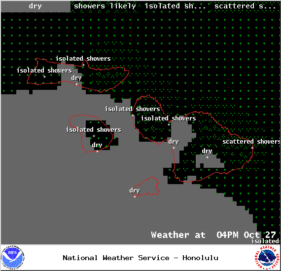 Weather conditions for Maui County at 4pm on Monday October 27, 2014 / Image: NOAA / NWS