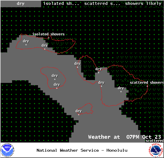 Expected weather conditions in Maui County at 7pm on Thursday October 23, 2014 / Image: NOAA / NWS