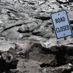 """Road Closed"" sign. NPS Photo/Michael Szoenyi."