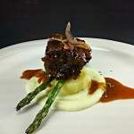 Braised Short Ribs, Truffle Parsnip Puree, Asparagus with Roasted Rosemary Potatoes and Garlic Chips. Courtesy image.