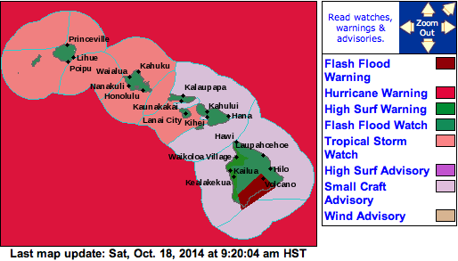 Visual map of alerts posted statewide on October 18, 2014 at 9:30am / Image: NOAA
