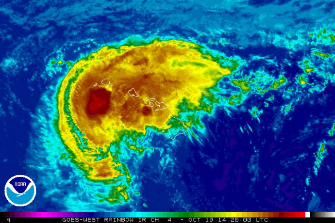 Satellite, 11:00 a.m. HST, Sunday, Oct. 19, 2014, courtesy NOAA/NWS.
