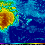 Tropical storm ANA moves away from the islands. Satellite image, October 20, 2014 / NOAA