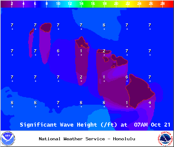 Expected wave heights for state of Hawaii / Image: NOAA / NWS