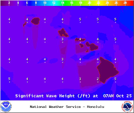 Map of expected wave heights in Maui County on Saturday October 25, 2014 / Image: NOAA / NWS